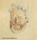 Эскиз портрета работы Б. Кустодиева. Ленинград, 1924.