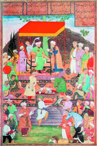 Сцена пира у Султан Хусейна (К. Бехзад)