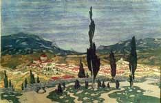 Испания. Пейзаж с кипарисами.
